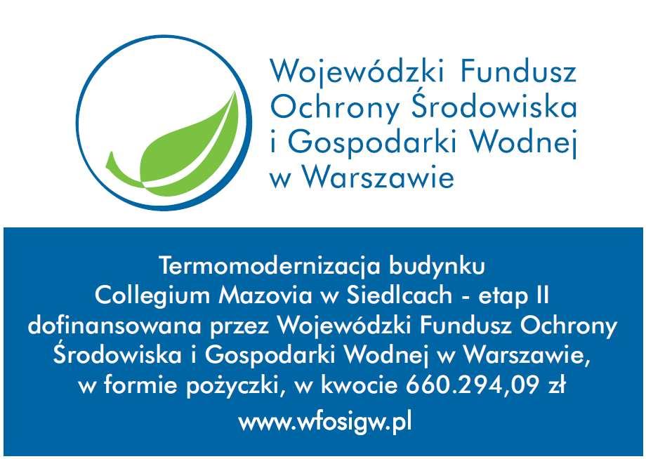 Informacja o dofinansowaniu z WFOŚiGW w Warszawie
