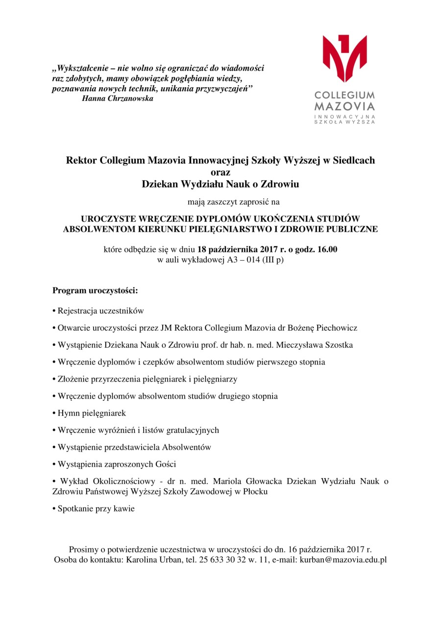 zaproszenie- dyplomy październik 2017