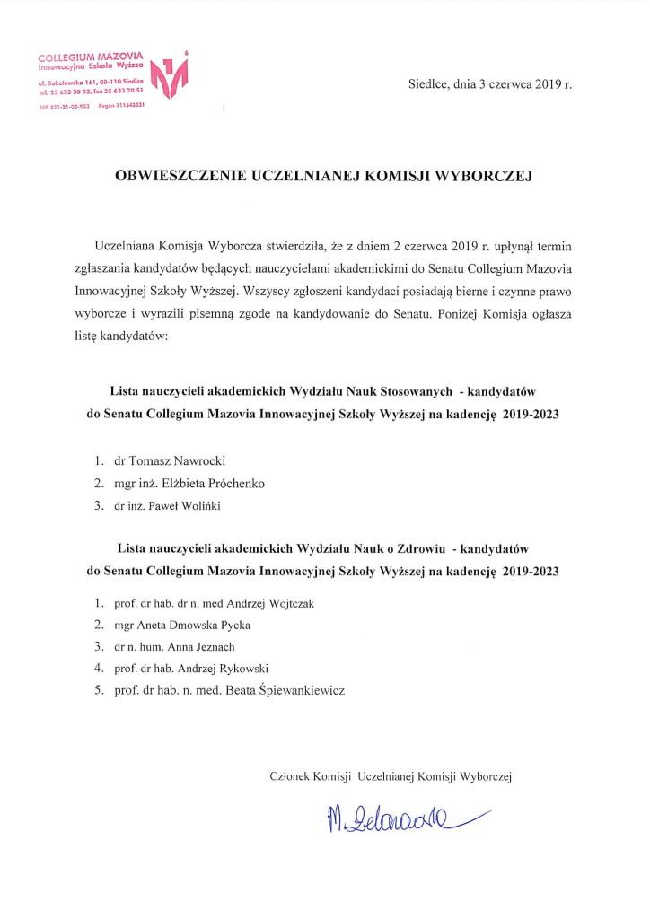 Obwieszczenie Uczelnianej Komisji Wyborczej 1-1