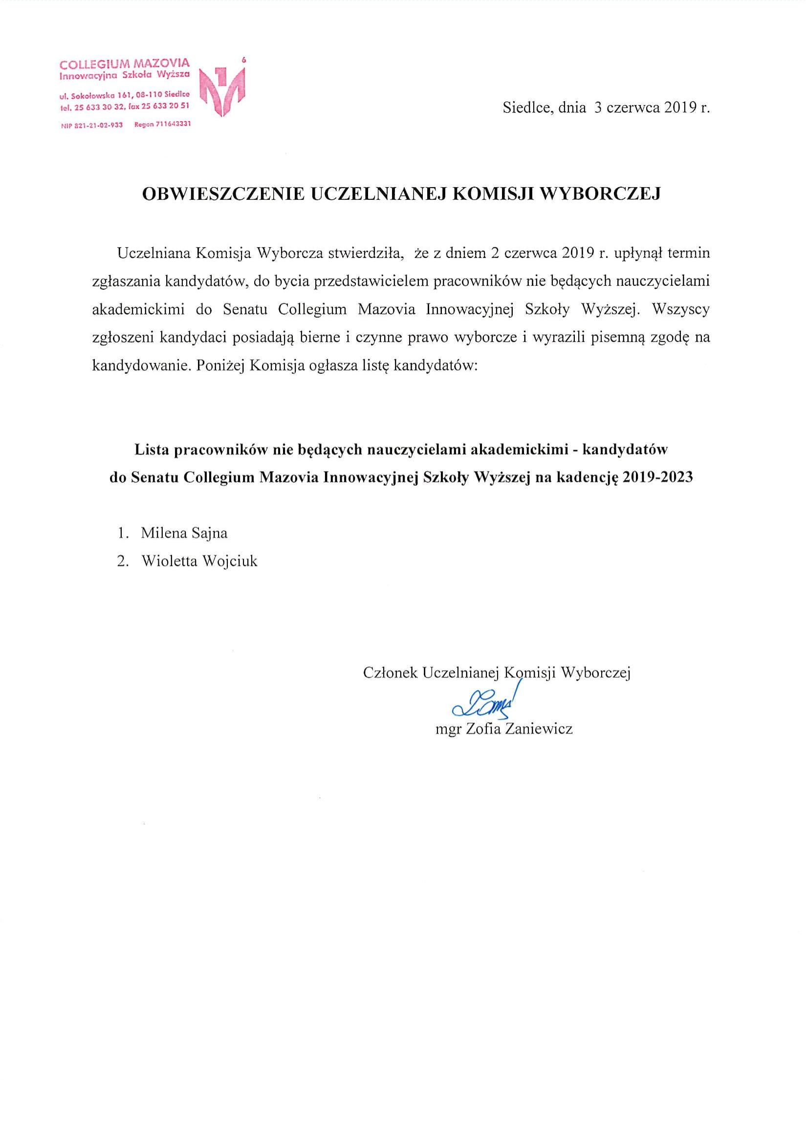 Obwieszczenie Uczelnianej Komisji Wyborczej 2-1