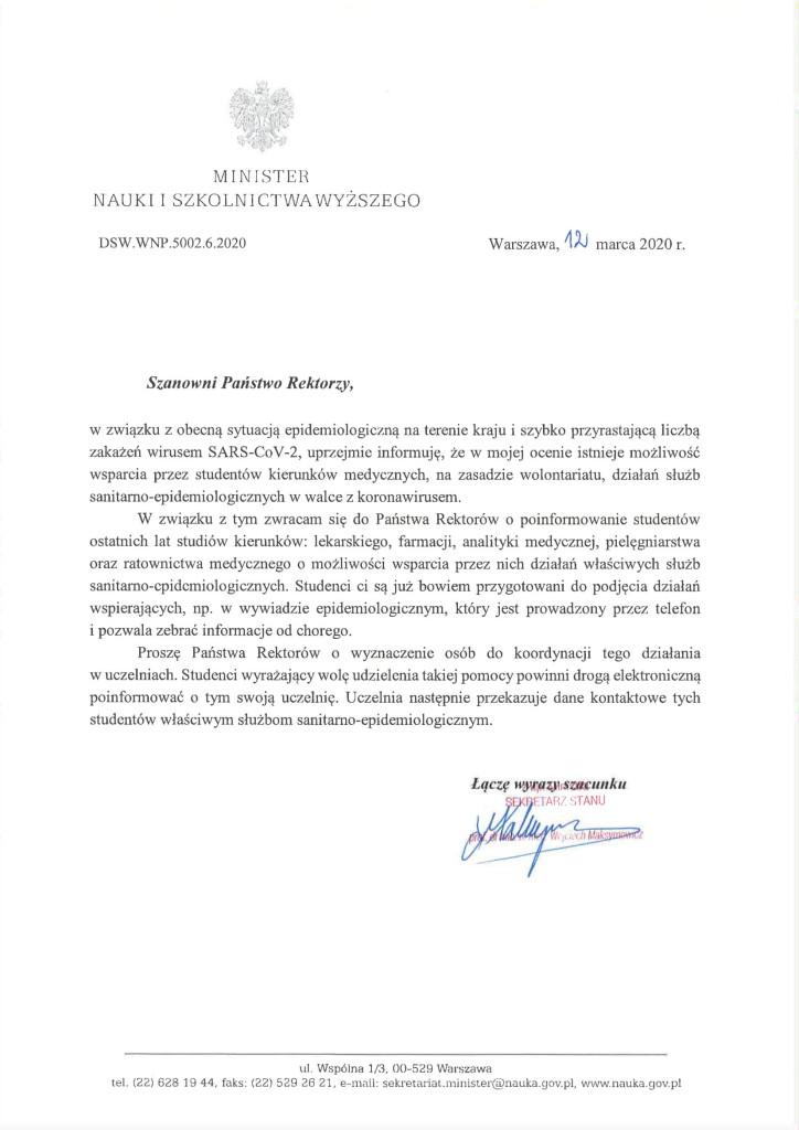 List Ministra Nauki i Szkolnictwa Wyższego do rektorów uczelni-1